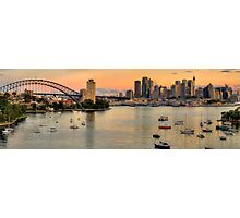 Berry's Bay Sunset - Berrys Bay, Sydney Harbour (40 Exposure HDR Panorama) - The HDR Experience Photographic Print