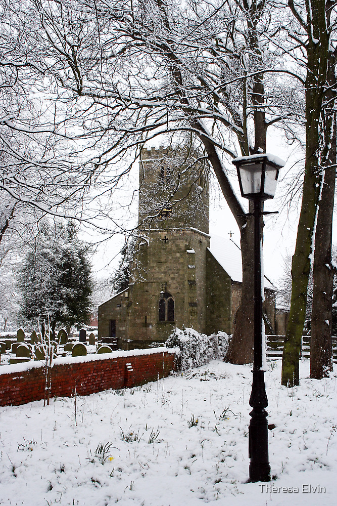 Kirk Bramwith Church in Winter by Theresa Elvin