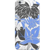 Contour Hawaii Tropical Lily and Protea Floral - Periwinkle and Charcoal Gray iPhone Case/Skin
