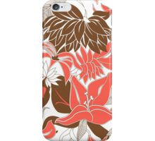 Contour Hawaii Tropical Lily and Protea Floral - Coral and Cocoa Brown iPhone Case/Skin