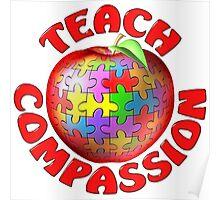 Teach Compassion Autism Awareness Puzzle Apple Poster