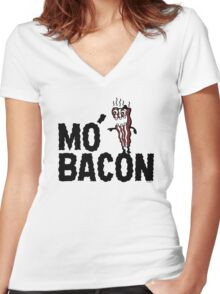 MO' BACON on lights Women's Fitted V-Neck T-Shirt