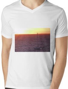 A sailboat at Sunset Mens V-Neck T-Shirt