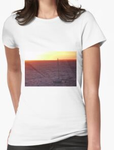 A sailboat at Sunset Womens Fitted T-Shirt