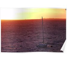 A sailboat at Sunset Poster