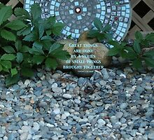 Mosaic Art in a Garden - (with quote) by THurdCreations