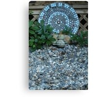 Mosaic Art in a Garden - (with quote) Canvas Print