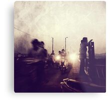 There are dark shadows on the earth, but its lights are stronger in the contrast. Metal Print
