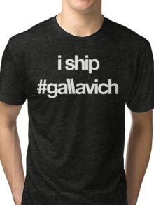 i ship #gallavich (White with black bg) Tri-blend T-Shirt