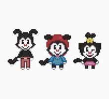Animaniacs - Yakko, Wakko, & Dot Warner Chibi Pixels One Piece - Long Sleeve
