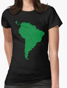 Blank green South America map Womens Fitted T-Shirt