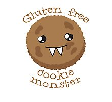 Gluten Free Cookie Monster with cute kawaii biscuit Photographic Print
