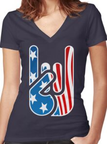 Rockin' USA Women's Fitted V-Neck T-Shirt