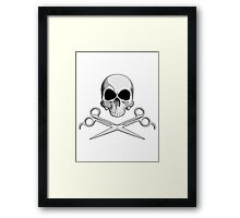 Barber Skull and Scissors Framed Print