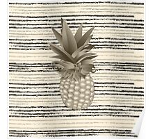 Pineapple on background with stripes Poster