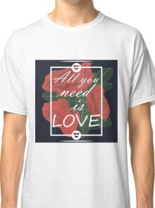 graphic print with flowers Classic T-Shirt