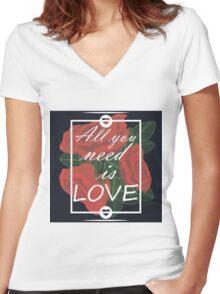 graphic print with flowers Women's Fitted V-Neck T-Shirt