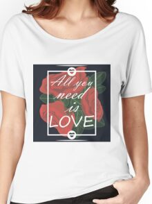 graphic print with flowers Women's Relaxed Fit T-Shirt