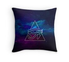 Eye of Horus with full night sky background Throw Pillow