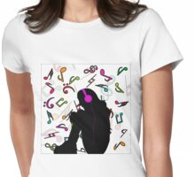 Girl listening to music Womens Fitted T-Shirt
