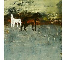 2 Horses in a dream field by donna malone