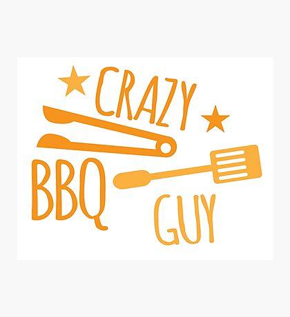 Crazy BBQ Guy Photographic Print
