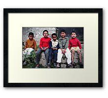 Mountain Boys- The Kids Of Manali Framed Print