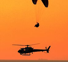 Paraglider, Helicopter and Ship on Horizon by Randall Thomas Stone