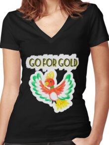 Go for gold ho-oh Women's Fitted V-Neck T-Shirt