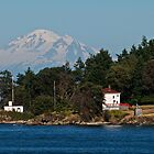 Mayne Island Lighthouse, Mount Baker by Stephen Hawkins