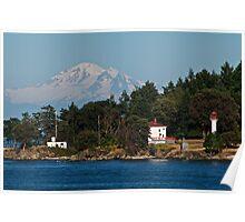 Mayne Island Lighthouse, Mount Baker Poster