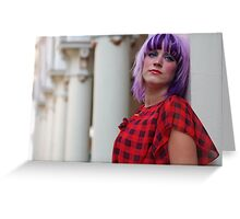 Modelling fashion with a columnar backdrop Greeting Card