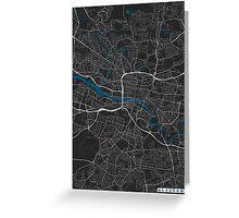 Glasgow city map black colour Greeting Card