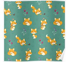 Kawaii Fox pattern Poster
