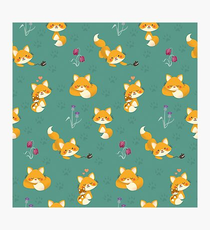 Kawaii Fox pattern Photographic Print