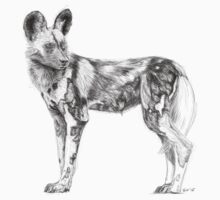 African Wild Dog Sketch Kids Clothes