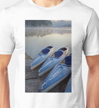 Kayak boats at lake Unisex T-Shirt