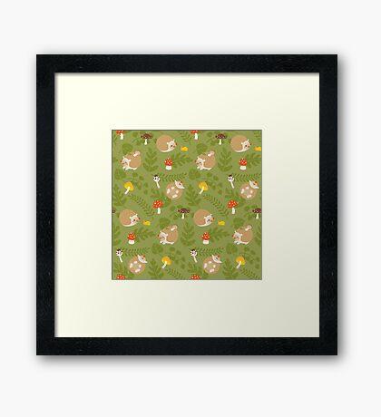Kawaii Hedgehog green pattern Framed Print