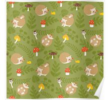 Kawaii Hedgehog green pattern Poster