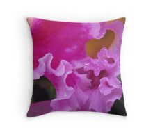 Orchid Petal with Water Droplet Detail - Hervey Bay Botanic Gardens QLD Throw Pillow