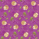 Kawaii Hedgehog purple pattern by Macy Wong