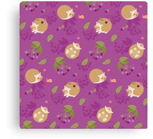 Kawaii Hedgehog purple pattern Canvas Print