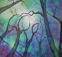 Blue trees - landscape - natural world - blue fantasy by alyona firth