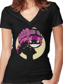 Cheshire no totoro - original Women's Fitted V-Neck T-Shirt