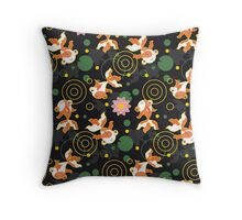 Kawaii Goldfish black pattern Throw Pillow