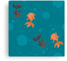 Kawaii Goldfish teal pattern Canvas Print