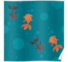 Kawaii Goldfish teal pattern Poster