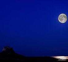 Holy Island Castle in Moonlight by Nigel Bangert