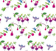 Kawaii Hummingbird fuchsia white pattern by Macy Wong
