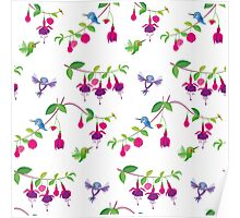 Kawaii Hummingbird fuchsia white pattern Poster